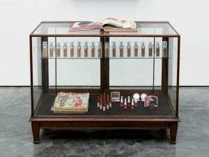 Theaster Gates, On Black Foundations, 2012, wood, glass, plastic, paper and makeup, dimensions variable; at the Studio Museum in Harlem.